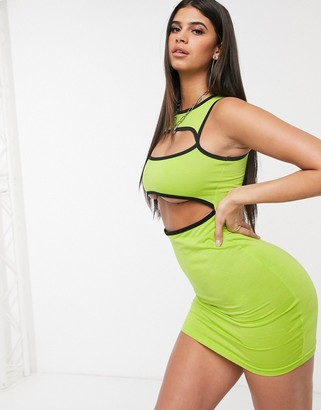 Daisy Street bodycon dress with cut out panels in green