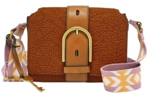 Fossil Wiley Vintage-Like Woven Emboss Leather Saddle Crossbody