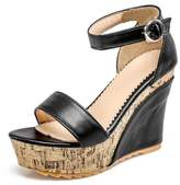 COOLCEPT Women High Wedged Heels Platform Party Dress Strappy Summer Shoes