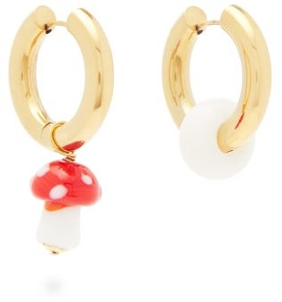 Timeless Pearly Mismatched Mushroom-charm Gold-plated Earrings - Red White