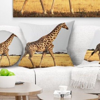 """East Urban Home Single Giraffe in Africa Walking Pillow Size: 16"""" x 16"""", Product Type: Throw Pillow"""