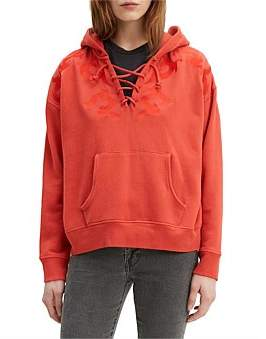 Levi's Lace Up Hoodie With Embroidery