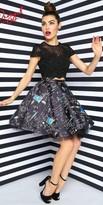 Mac Duggal Two Piece Chalkboard Print Homecoming Dress