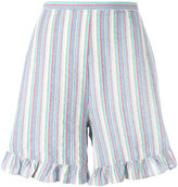 See by Chloe striped flared-hem shorts