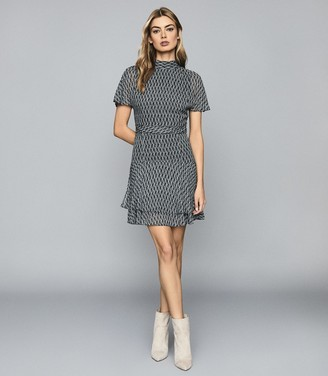 Reiss RAYAH PRINTED MINI DRESS Blue