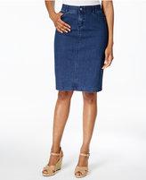 Charter Club Polka Dot Denim Pencil Skirt, Created for Macy's