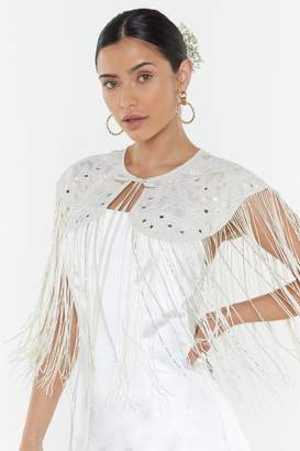 Nasty Gal Womens When All Else Veils Bridal Embroidered Cape - white - S/M