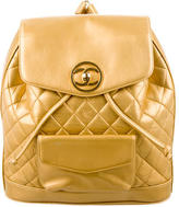 Chanel Metallic Quilted Backpack