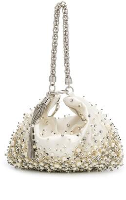 Jimmy Choo Callie crystal and pearl-embellished clutch bag