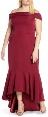Chi Chi London Curve Roz Off the Shoulder High/Low Gown