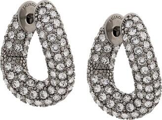 Balenciaga Crystal-Embellished Loop Earrings
