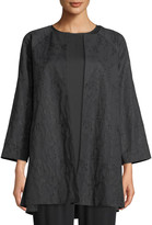 Eileen Fisher Shimmer Jacquard Long Open-Front Jacket