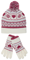 John Lewis Children's Christmas Fair Isle Hat & Glove Set, Red/White