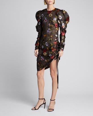 Oscar de la Renta Floral-Embroidered Puff-Sleeve Cinched Cocktail Dress