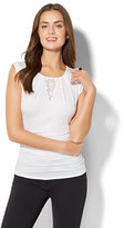 New York & Co. 7th Avenue - Lace-Inset Cap-Sleeve Top - White