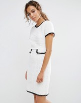 Darling Textured Shift Dress With Contrast Trim