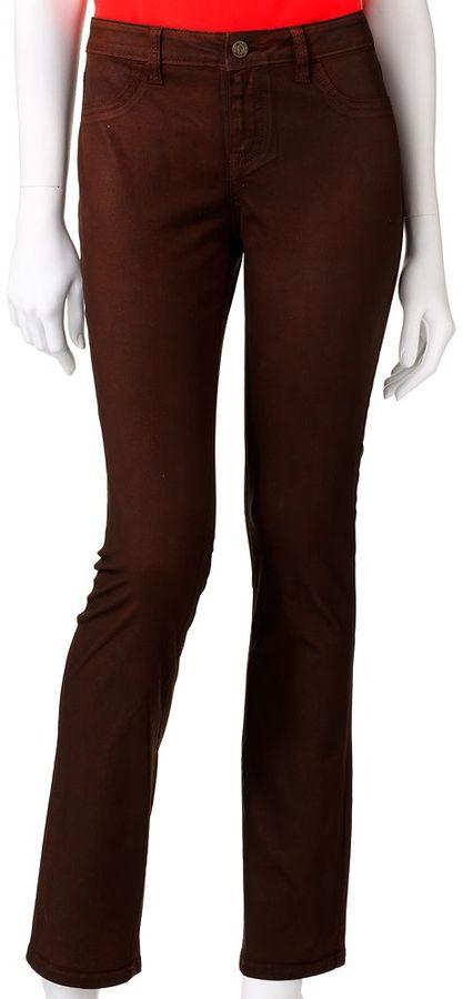 JLO by Jennifer Lopez slim straight-leg coated jeans