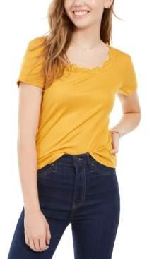 Ultra Flirt Juniors' Lace-Trimmed Rib-Knit T-Shirt
