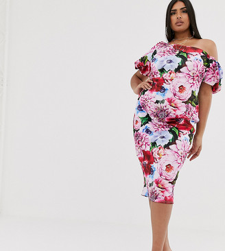 Asos DESIGN Curve bubble sleeve floral bodycon midi dress