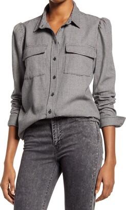 Treasure & Bond Gingham Puff Shoulder Button-Up Shirt
