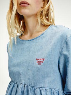 Tommy Hilfiger Denim Ribbon Cuff Logo Blouse