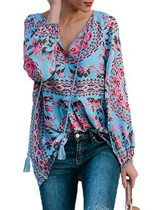 Actloe Women V Neck Floral Printed Peasant Blouses Long Sleeve Multicolor Casual Tops and Shirts