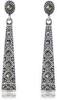 Victoria Crowne Sterling Silver Marcasite Linear Dangle Earrings