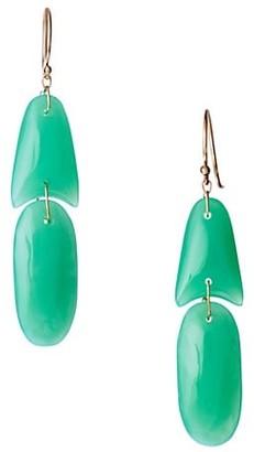 Ten Thousand Things 18K Yellow Gold & Chrysophrase Tiny Arrowhead Double Drop Oval Earrings
