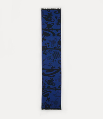 Vivienne Westwood Five In A Row Orbs Scarf Royal Blue