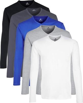 Lower East Mit V-ausschnitt Long Sleeve Top Multicolour (Wei Greywei/Schwarz/Olympia Blue/Hellgrau Melange/Folkstone Grey) XX-Large Pack of 5