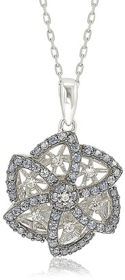 Suzy Levian Suzy L. Sterling Silver Sapphire & Diamond Abstract Flower Pendant