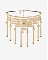 Express metal disc fringe choker necklace