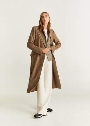 MANGO Belted wool coat medium brown - XXS - Women