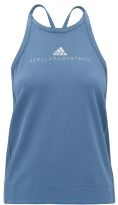 adidas by Stella McCartney Logo-print Mesh Performance Tank Top - Womens - Blue