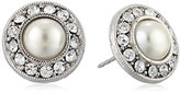 1928 Jewelry Bridal Silver-Tone Crystal and Simulated Pearl Button Stud Earrings