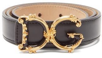 Dolce & Gabbana Baroque Monogram-buckle Leather Belt - Black Gold