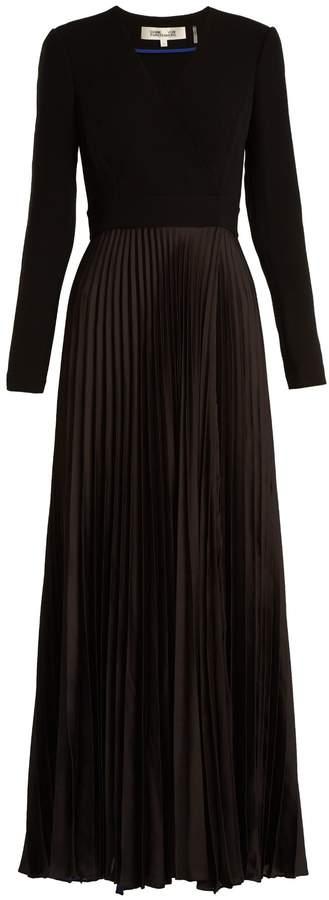 Diane von Furstenberg V-neck pleated-satin dress