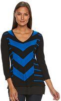 Dana Buchman Women's Mitered Stripe Mock-Layer Sweater