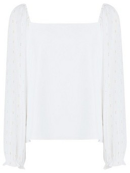 Dorothy Perkins Womens Ivory And Gold Lurex Blouse, Ivory