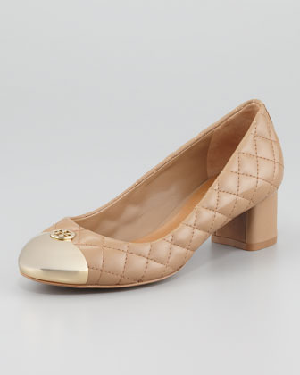 Tory Burch Kaitlin Quilted Cap-Toe Pump, Beige