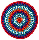 Colorful Mexican Ribbon on Coiled Palm Decorative Mat, 'Festive Sun'