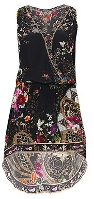 Camilla Mirror Faux-Wrap High-Low Silk Dress