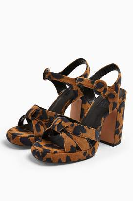 Topshop Womens Ripple Leopard Print Platform Shoes - True Leopard