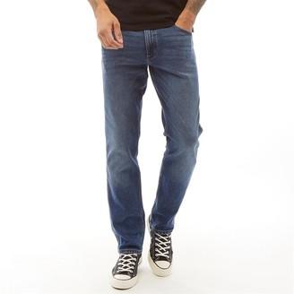Wrangler Mens Greensboro Straight Fit Jeans Blue Fest