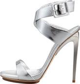 Giuseppe Zanotti Big-Buckle Ankle-Wrap High-Heel Sandal, Silver