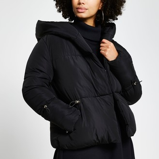 River Island Womens Black drawcord shawl puffer coat