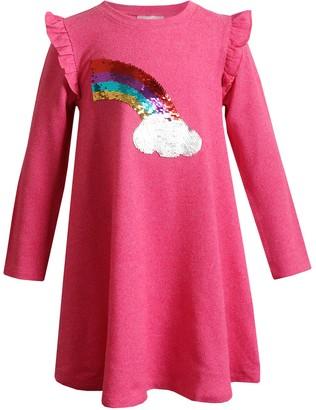 Youngland Girls 4-6x Knit Dress with Rainbow/Cloud
