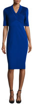 Escada Dondi Plissé Sheath Dress, Blue