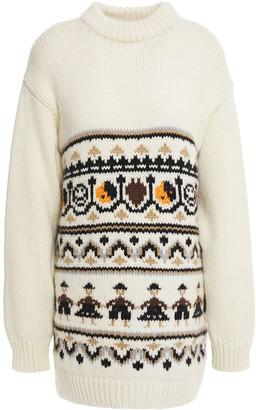 Ganni Intarsia Merino Wool And Alpaca-blend Sweater
