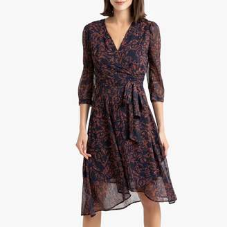 Suncoo Caren Printed Wrapover Dress with Long Sleeves